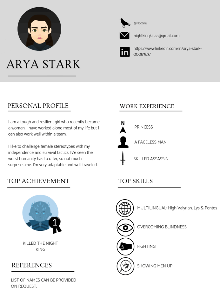 ARYA STARK CV