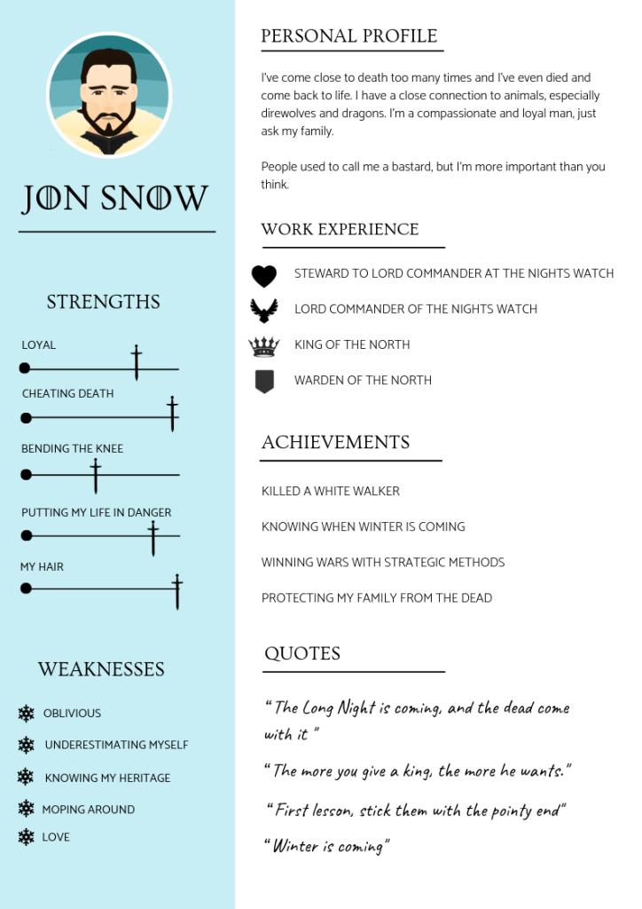 JON SNOW CV