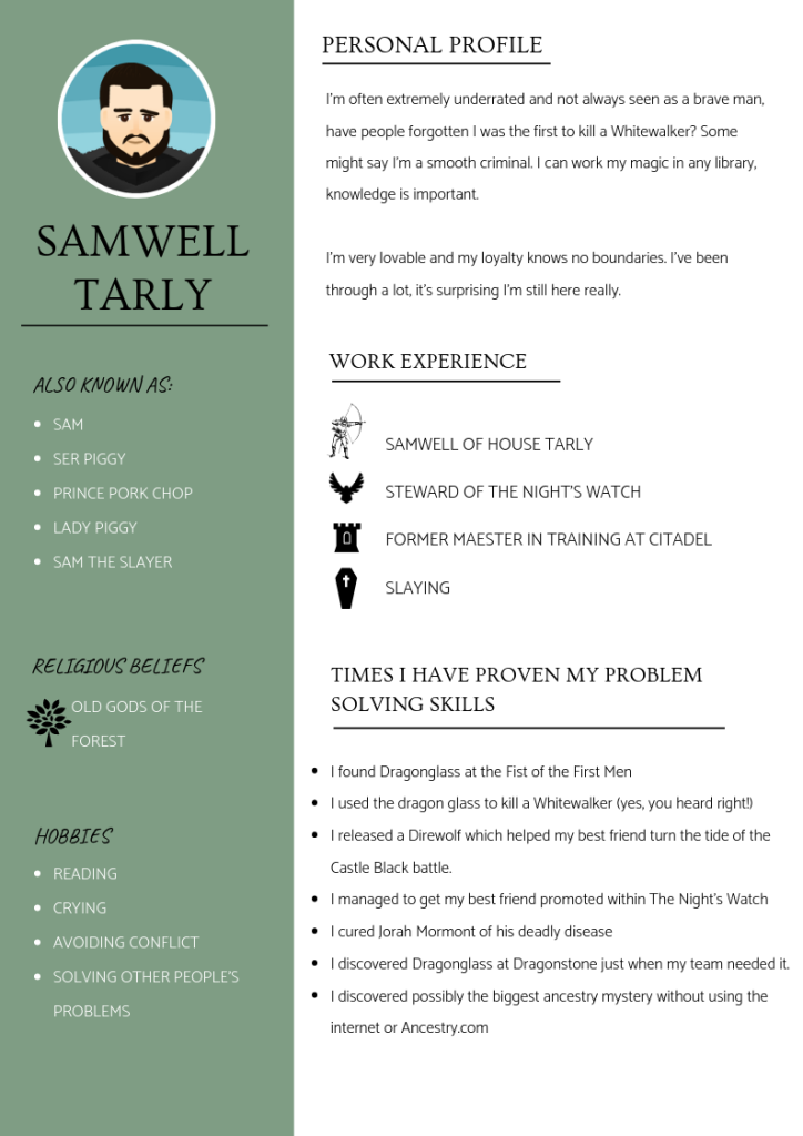 SAMWELL TARLY cv
